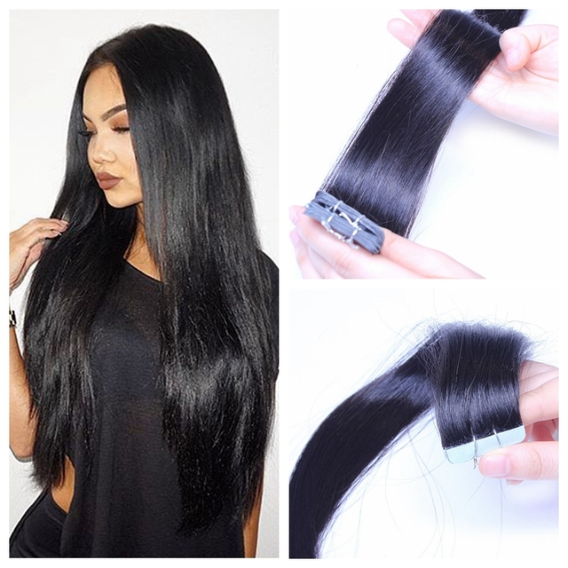 100 Peruvian Remy Tape In Hair Extensions 40 Pieces Jet Black Us