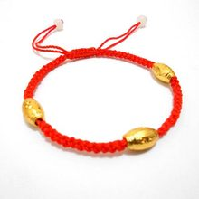 Woven Bracelet – New Arrival Three Gold Beads Hand-woven Red String Bracelets Wholesale Jewelry #1575172