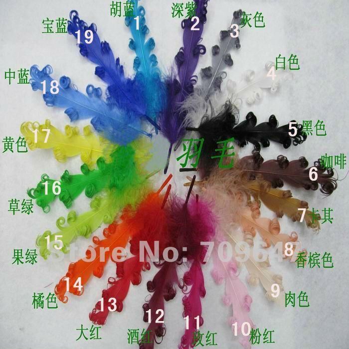 200 шт/партия! 19 цветов 10-20 см кудрявые гусиные перья из сатинета для повязки на голову, вуалетки