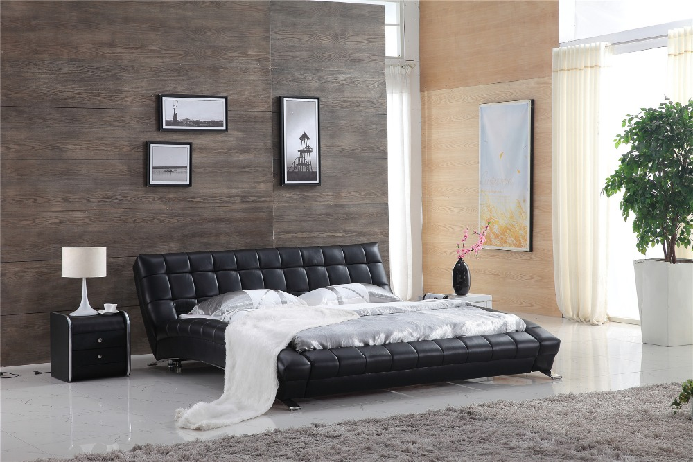 US $1100.0 |Italian modern leather bed 0410-in Beds from Furniture on  AliExpress