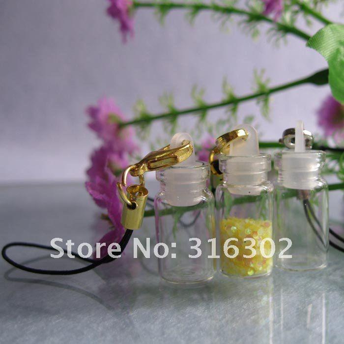 500x1 мл пустая стеклянная бутылка с подвеской масло/травы/Фея/пыль/песок Мини Стеклянная бутылка с мобильным шнуром