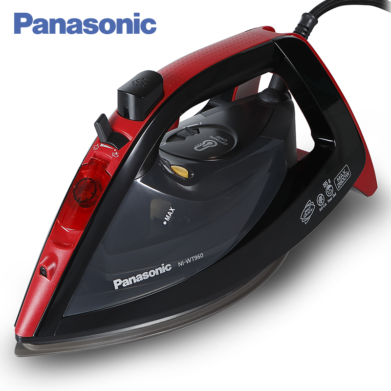 Panasonic NI-WT960RTW Steam Iron with ceramic nonstick soleplate electric steamer ironing machine household non-stick baseplate professional 450f ceramic vapor steam hair straightener with argan oil infusion steam flat iron ceramic vapor fast heating iron