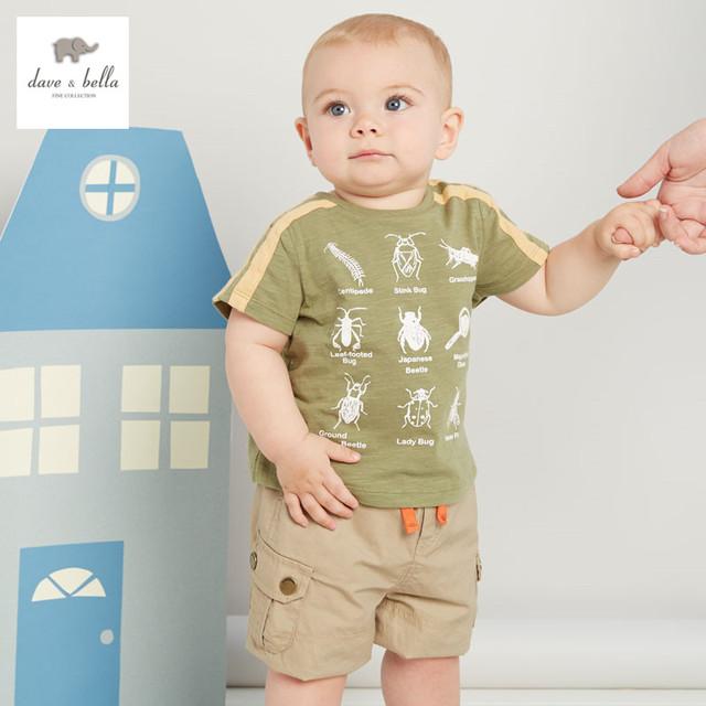 DB3048 dave bella bebê verão menino camisa verde exército roupas infantis toddle tee meninos tops T-shirt das crianças t shirt do miúdo