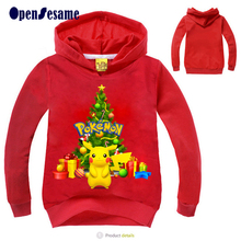 2016 Christmas children Christmas tree&Picacho Hoodies Kids Clothes Cotton boy&girl Pullovers Christmas Party Costume for 3-11yr