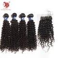 Горячие продать Глубокий Curl 6А 4 шт. бразильский девственные волосы с закрытием натуральный черный человеческие волосы ткет Для Вашего Красивые Волосы бесплатная доставка
