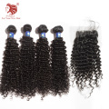 Hot sell Deep Curl 6A 4pcs brazilian virgin hair with closure natural black human hair weaves For Your Nice Hair free shipping