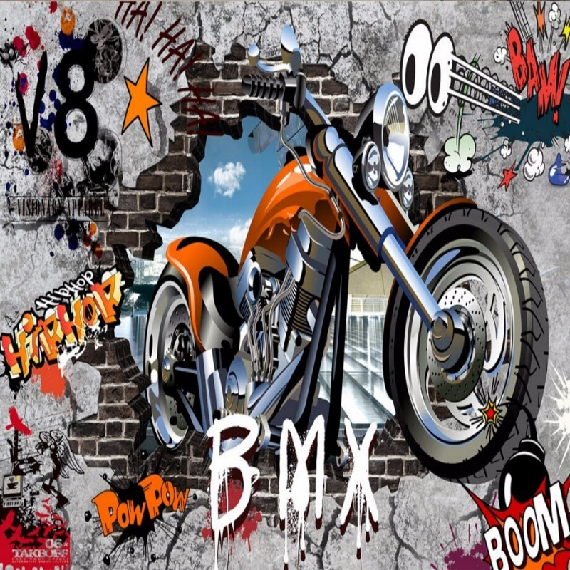 Beibehang Custom Motorcycle Street Graffiti Art Decorative Background Wall Paper 3d Wallpaper Painting Walls 3d Papel De Parede Cool In Summer And Warm In Winter