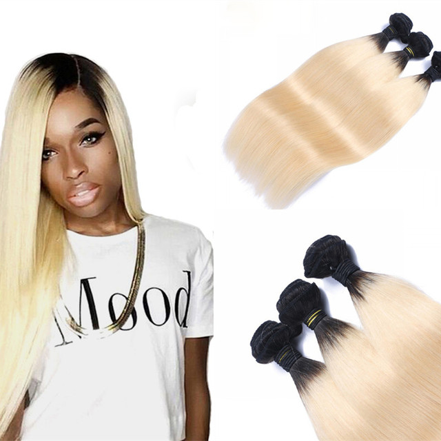 Full Shine Dark Roots Ombre Human Hair Blonde Weave Bundles