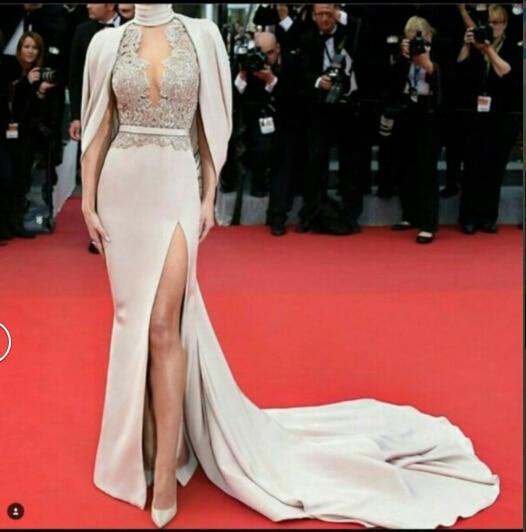 2016 мода русалка вечернее платье V шеи с мыса передняя сплит ну вечеринку пром платья