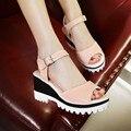 2016 verão mulheres fivela sandálias cunhas plataforma de couro macio simples de grande tamanho 33 - 43 -