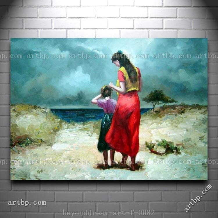 Madre e hija para caminar On The Beach pintura al óleo impresionismo ...