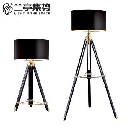 Modern Home Study Floor Lamp American Retro Three Legged Photography Light Living Room Cafe