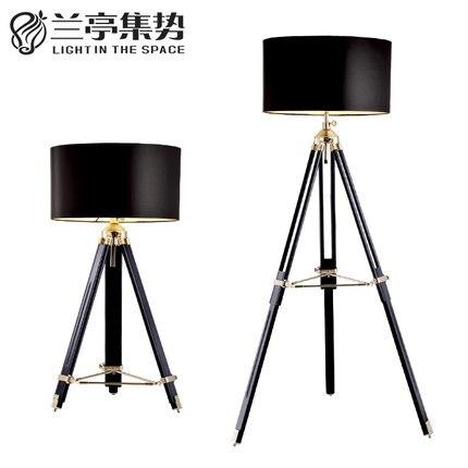 Rh style american industrial retro wood floor lamp three for 4 legged wooden floor lamp