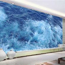 Mural Wallpaper Blue Sea Living Room Bathroom 3D Self-adhesive Waterproof Wallpaper
