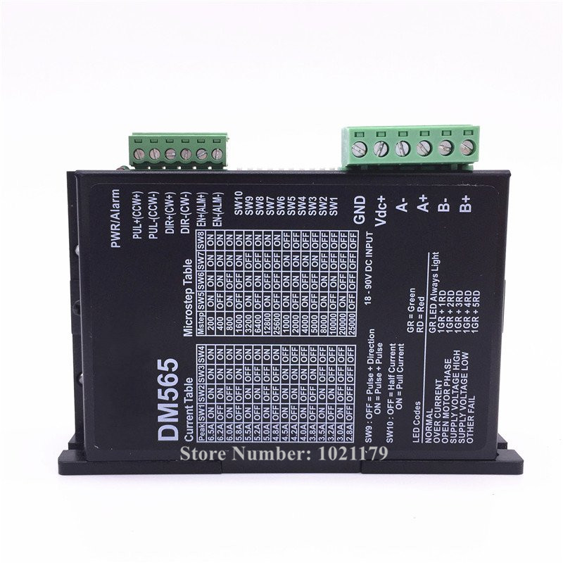 Free shipping DM565 2 phase 57 86 step motor driver 1.0A-6.5A 18V-90V DC motor driver for Nema 34 Motor fast shipping dc motor for treadmill model a17280m046 p n 243340 pn f 215392