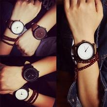 Men Women Fashion Simple Faux Leather Quartz Analog Couple's Wrist Watch