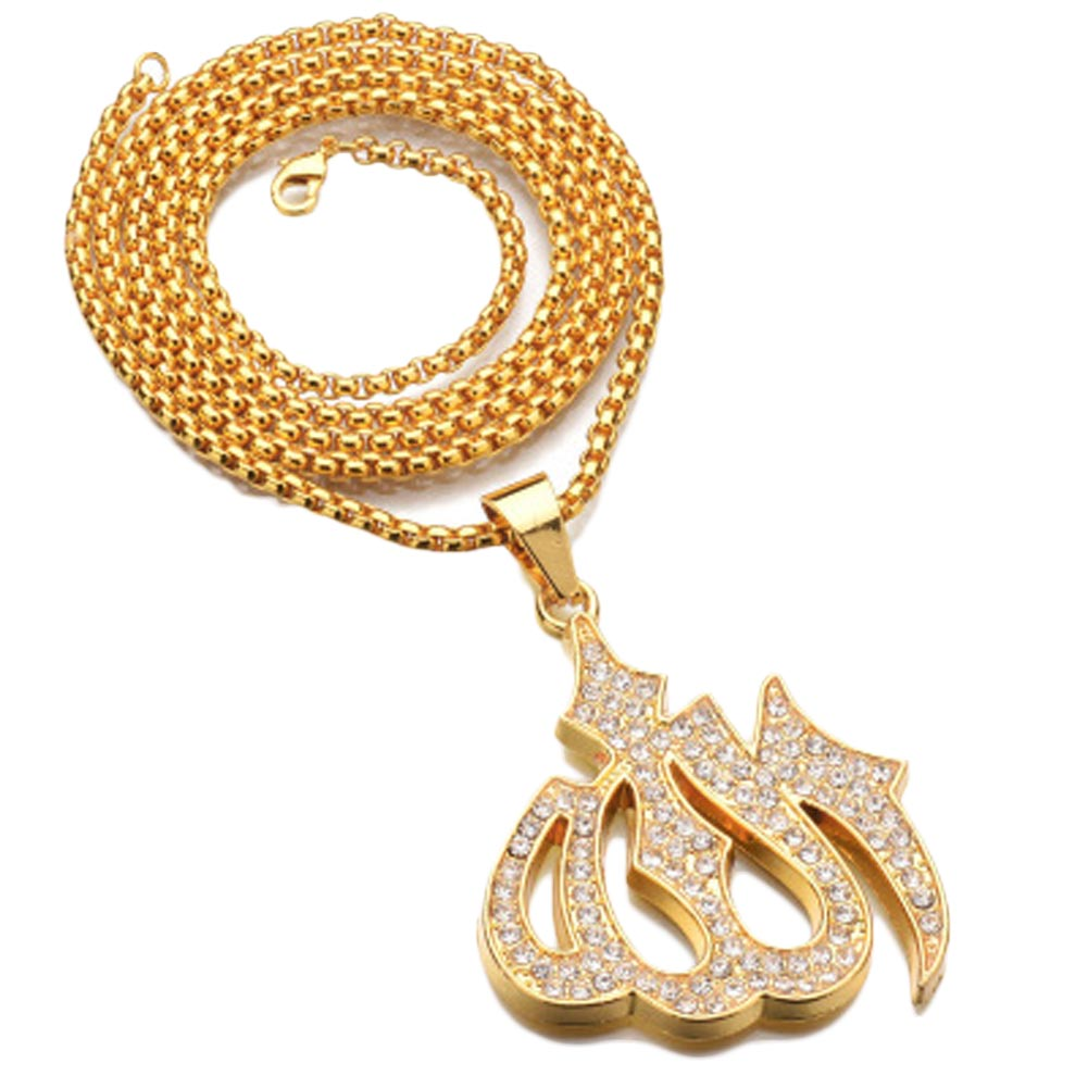 Islamic Allah Pendant Necklace For Women Silver/Gold Color Cubic Zirconia Necklace Religious Muslim Jewelry Wholesale