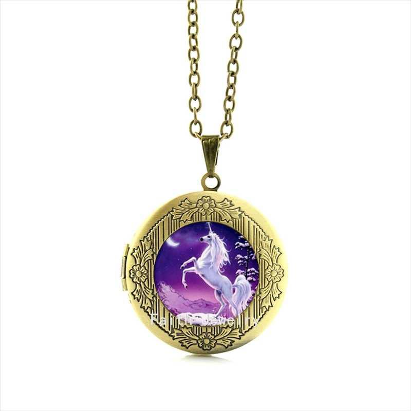 TAFREE foto medalhão pingente de colar branco bonito unicórnio cavalo animal do vintage declaração jóias presente para as mulheres homens crianças HH164