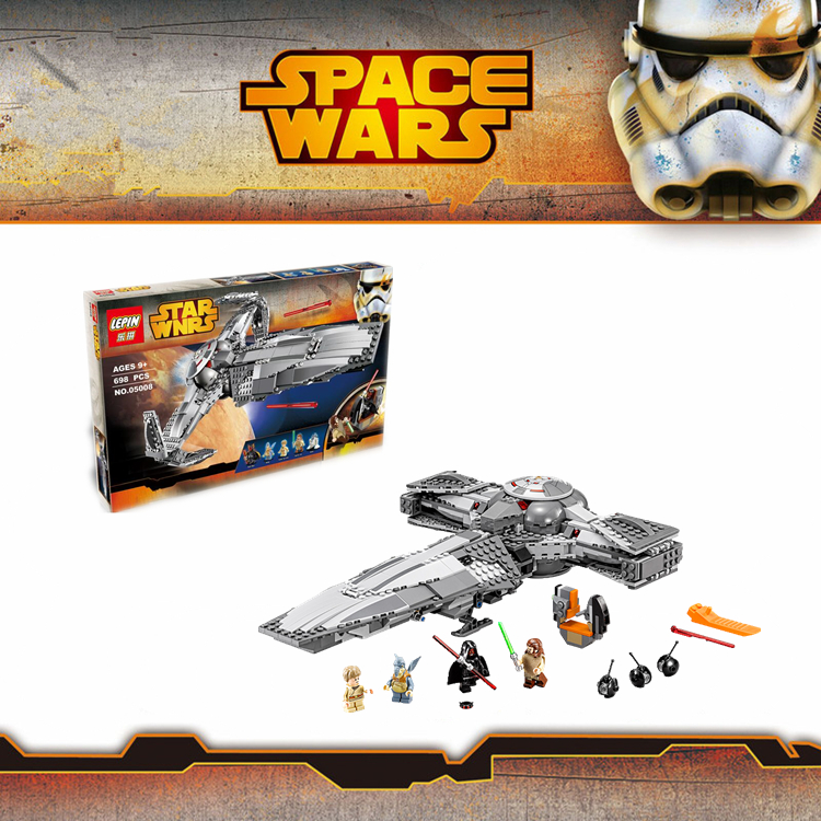 Lepin05008 698pcs Star Wars The Force Awakens Sith Infiltrator Building Block Darth Margu R2-D2 Minifigure Brick  от Aliexpress INT