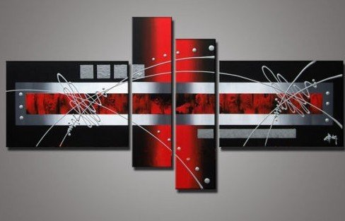 Hand Painted Wall Art Silver Red Lines Point Home Decoration Abstract  Landscape Oil Painting On