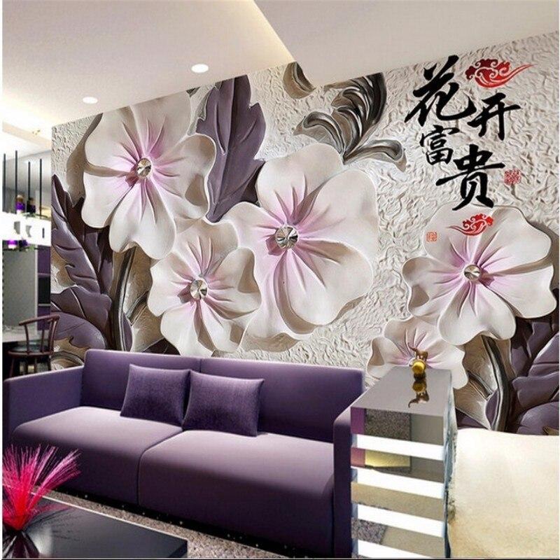 Купить с кэшбэком Beibehang  Photo 3D  wallpaper art modern minimalist TV wallpaper backdrop mural wall paper embossed lotus room 3D