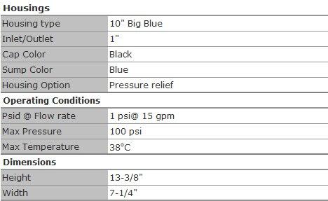 """Коронарный большой синий корпус фильтра для воды 10 """"с сбросом давления для водоочистителя"""