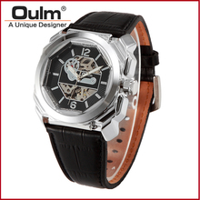 PNP and Gold Plating Alloy Case Genuine Leather Band Mechanical Hand Wind Watches Express Man Watch