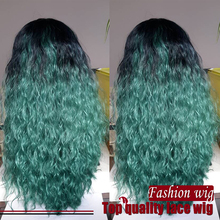Hot Selling Malaysian Hair Water Wave Wigs Ombre Color #1B To Green Synthetic Lace Front Wigs Heat Resistant Synthetic Hair Wigs
