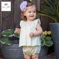 DB3321 dave bella verano de los bebés lindos dulces que arropan conjunto ropa infantil toddle paño de los cabritos escenógrafo bebé bibi