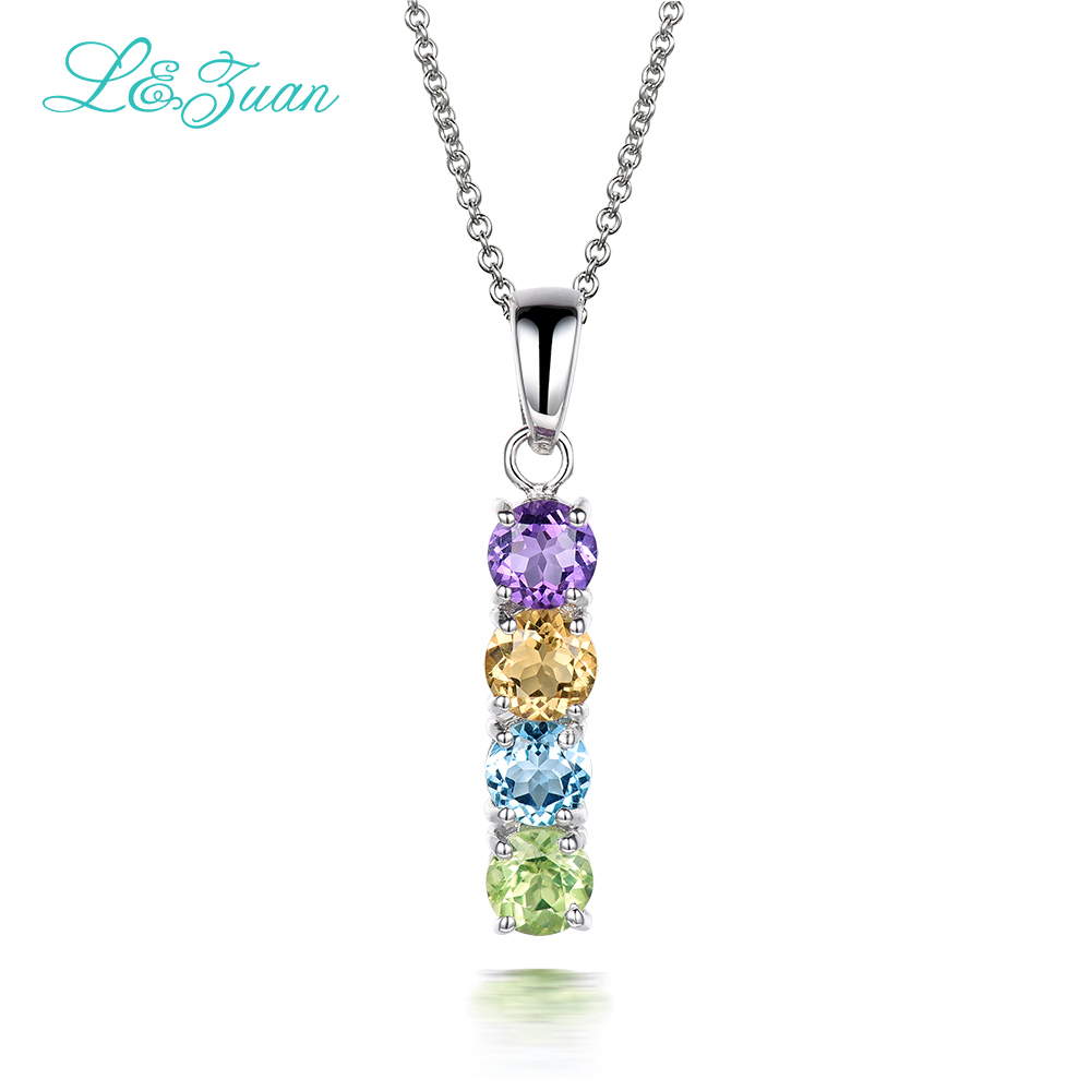 S925 Silver Womens Pendants Trendy Rectangle 4 Colors 0.332ct Natural Various Gemstones Fine Jewelry Necklaces