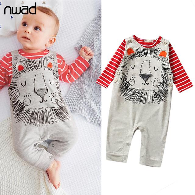 Bebê Da Menina do Menino Roupas Definir 2017 Listrado Animal Impressão Terno Roupas Para Criança Camisa de Manga Comprida T + Suspender Calças FF008