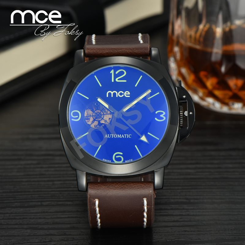 Mce fashion skeleton watches sapphire clock men casual automatic mechanical leather wrist...