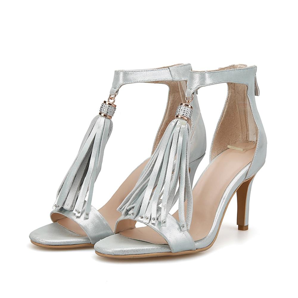ФОТО High-quality Women Sandals Fringe Open Toe Thin Heels Sandals Fashion Gold Silver Shoes Woman US Size 4-8.5