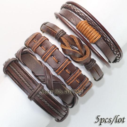 fl24-5шт черный браслет натуральная оплетка кожаные браслеты мужчины браслеты для женщин браслеты pulseira masculina от 2017 кольер роковой ожерелье