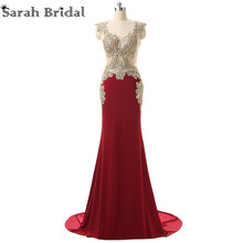 Burgundy Long Formal Evening Dresses 2017 Mermaid with Embroidery Crystals Prom Party Gowns Floor-length vestido de festa YD003