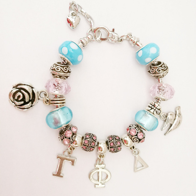 Sorority Delta Gamma Phi personalizado charm bracelet bangle Jóias 1 pc