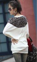 корейский женщины в топы тройник леопардовый плечо рукава в форме крыла летучей мыши хлопок футболки 3 цвета