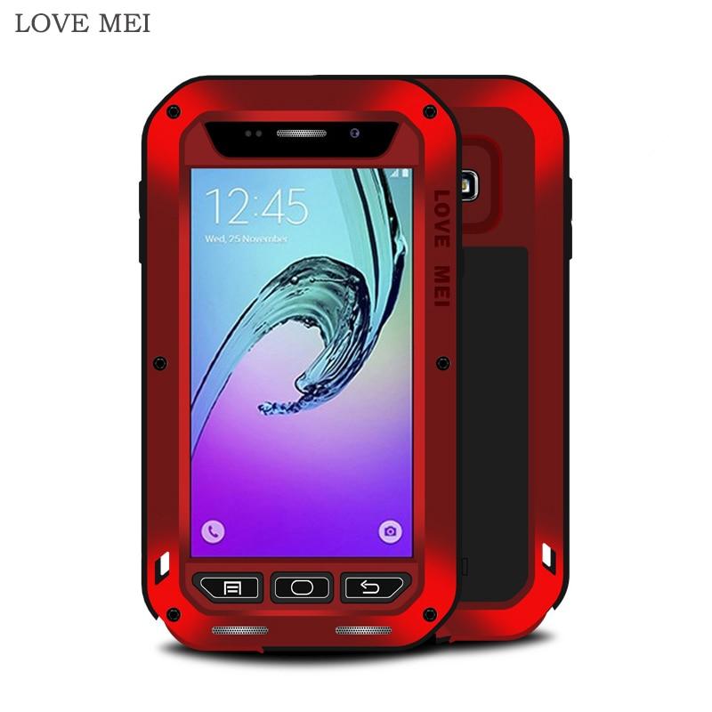 imágenes para AMOR MEI Para Samsung A5 Caja de Lujo de Aluminio Duro A Prueba de Golpes de Silicona armadura Caso Caja Del Teléfono para Samsung A3 2016 A7 A8 A9 cubierta