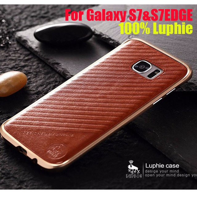 Original Luphie Rapier Series S7 Metal Case for SAMSUNG Galaxy S7 Edge/ S7 Aircraft Aluminum Bumper Frame + Back Leather Sticker