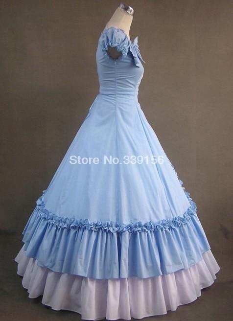 """Милое голубое длинное готическое платье """"Виктория"""""""