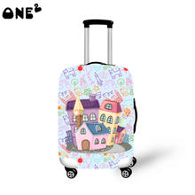 ONE2 stylish design architectural style patten promotion good quality wholesale cheap 22,24,26 inch luggage cover for kids