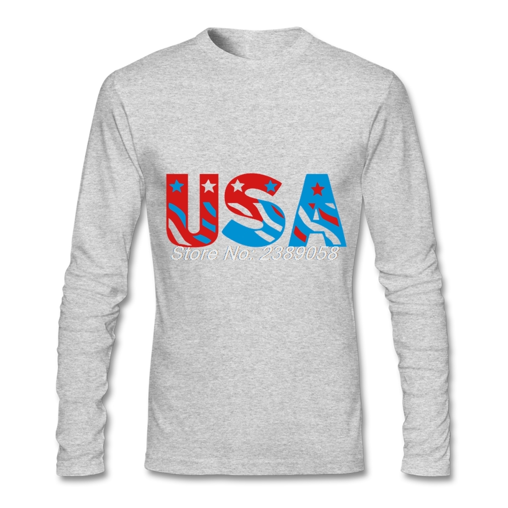 Fashion long sleeve men t shirt usa logo custom made for Custom printed dress shirts