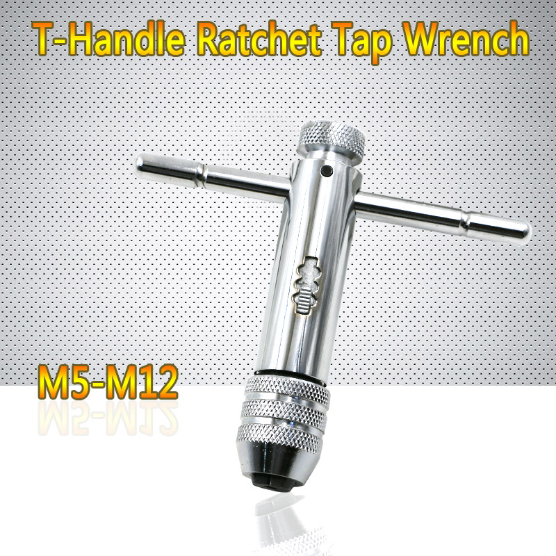Best Promotion Adjustable M5-M12 3-8mm T-Handle Ratchet Tap Wrench Machinist Tool Reversion With Screw Tap Tool