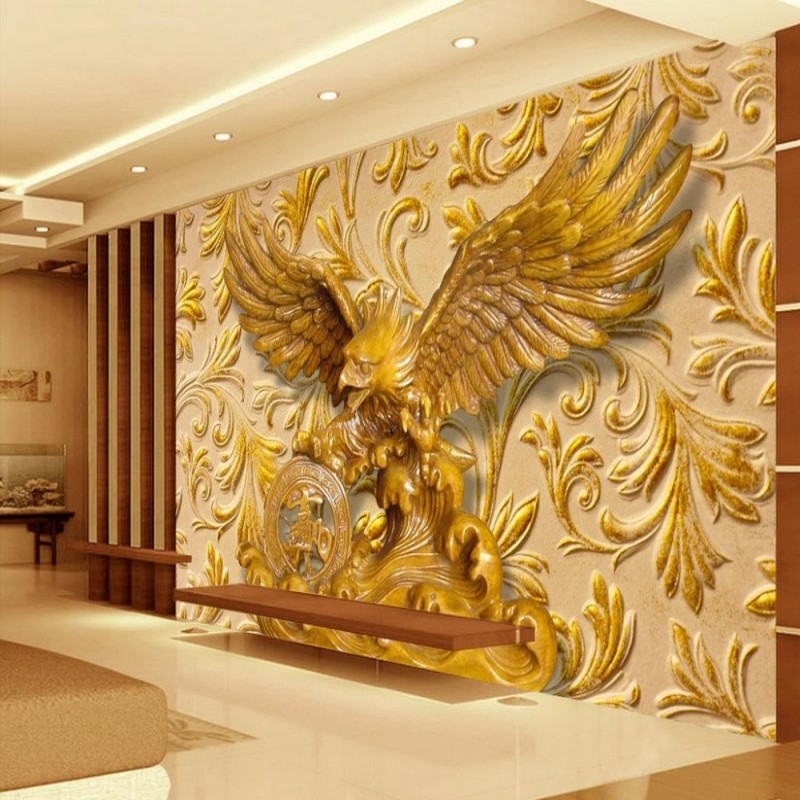 Beibehang Custom 3d Wallpaper Home Decor 3D Living Room Bedroom Relief Eagle Background Mural Wallpaper For Walls 3 D