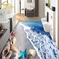 פגזי חול חוף רצפת טפט 3D המותאם אישית רצפת חדר האמבטיה חדר שינה סלון קיר PVC טפט דביק עמיד למים