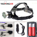 Powerful led flashlight waterproof linterna cree led rechargeable headlight+2*18650 battery+charger camping head lamp