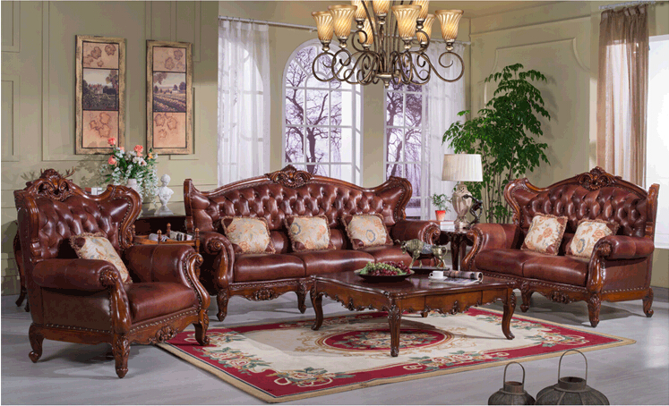 New Product Fashional Classical Solid Wood With Unique Leather Sofa  0409 S977B
