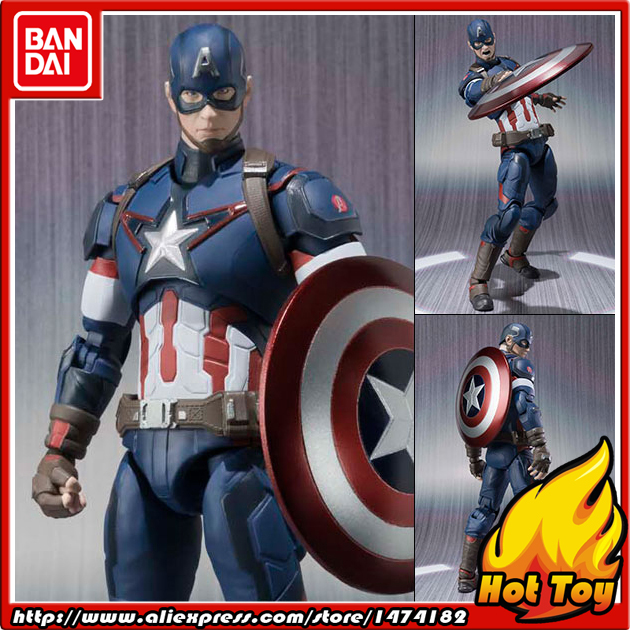 100% Original BANDAI Tamashii Nations S.H.Figuarts (SHF) Action Figure - Captain America from Avengers 2 Age of Ultron anime captain america civil war original bandai tamashii nations shf s h figuarts action figure ant man