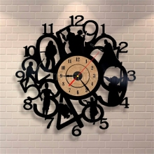 Black Vinyl Record Clock Cartoon Theme CD Wall Clock Living Room Decorative Quartz Wall Clocks Horloge Murale