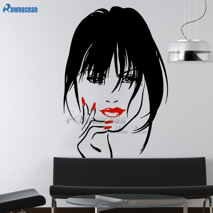 ROWNOCEAN Makeup Vinyl Wall Sticker Home Decor Eyes Girl Woman Lips Cosmetic Hairdressing Hair Beauty Salon Wall Decal D567